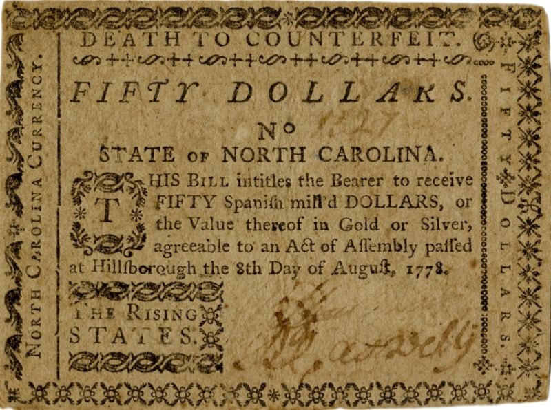 NC 1778 paper money for numismatics timeline
