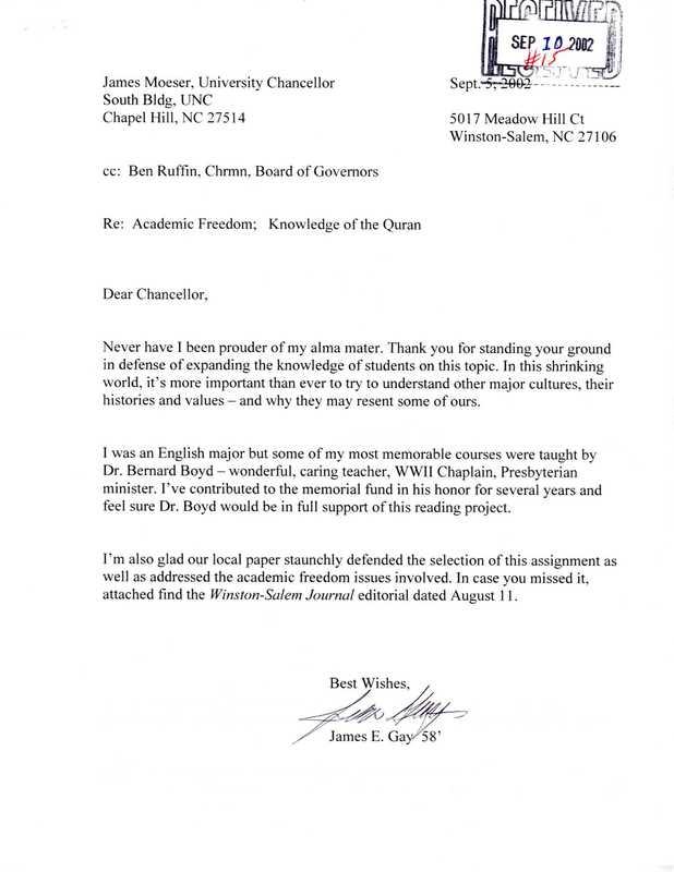 Letter, James Gay to James Moeser, September 5, 2002.