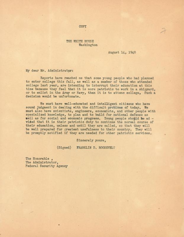 Franklin D. Roosevelt to Mr. Administrator