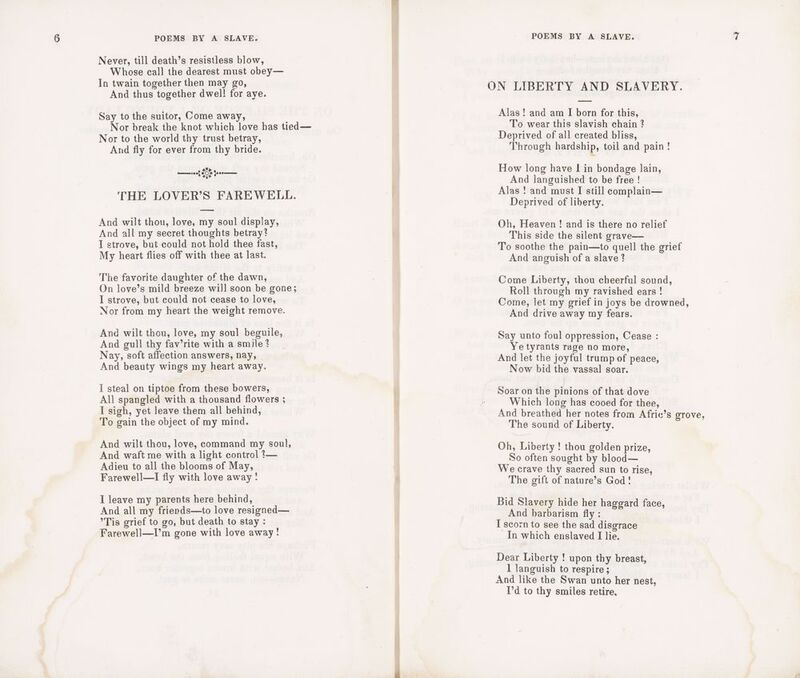 George Moses Horton. Poems by a Slave. Philadelphia: s.n., 1837.