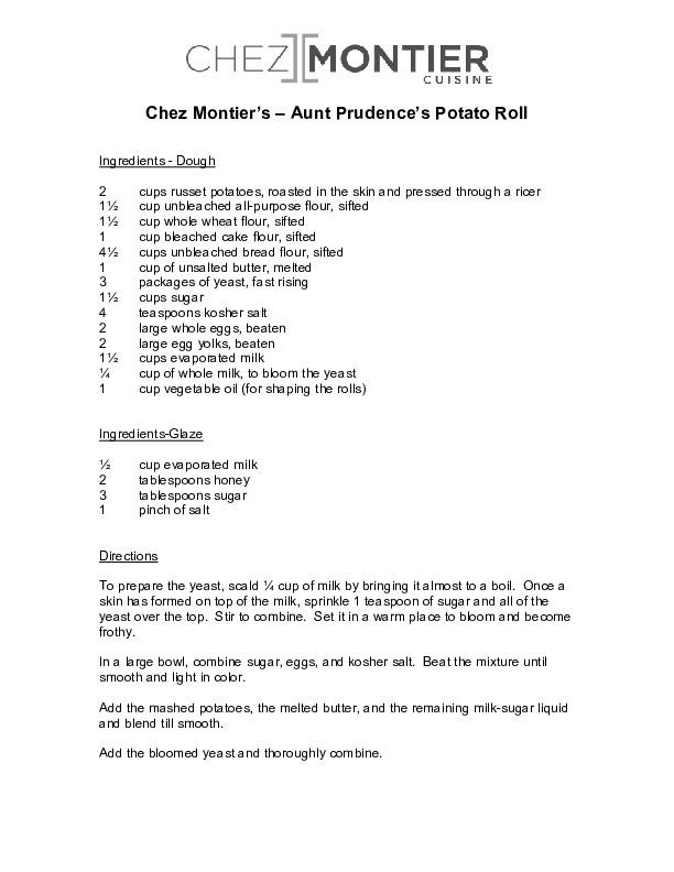 Chez Montier's Aunt Prudence's Potato Rolls Recipe Page 1