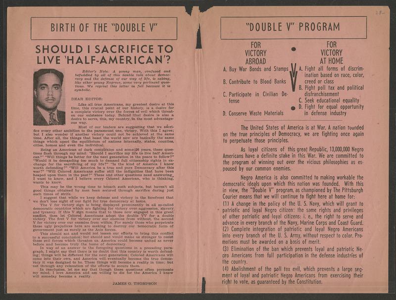 Double V Campaign pamphlet