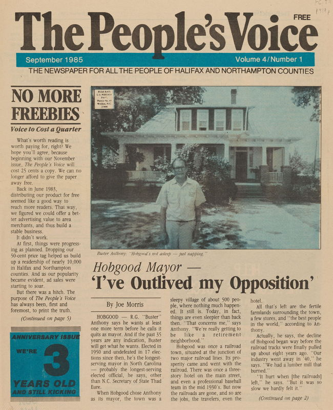 front cover of The People's Voice by Joe Morris (1985), Weldon, N.C
