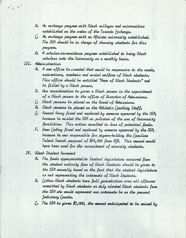 List of 23 Demands of the Black Student Movement, page 4