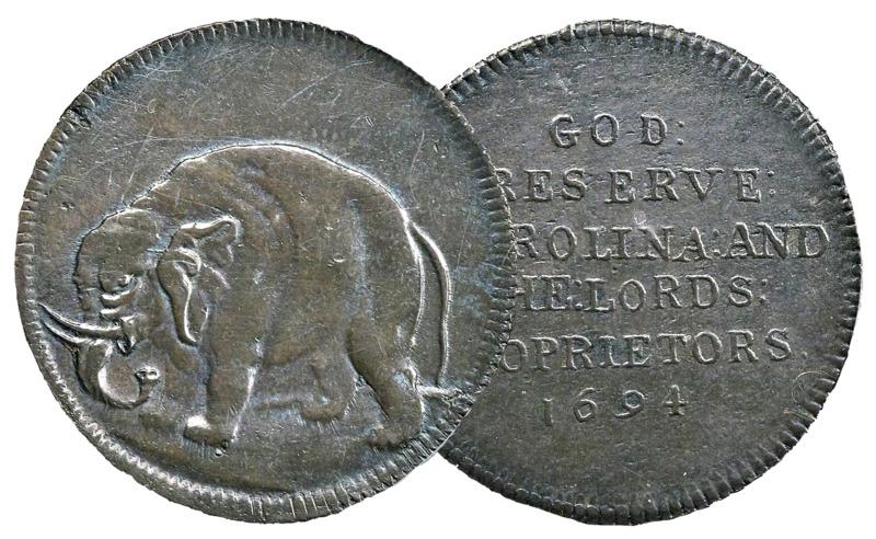 Genuine Carolina elephant token, CK.1851