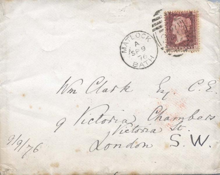 Envelope of letter to William Clark: 9 September 1876, front