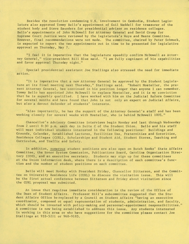 Tommy Bello calls emergency session of the student body in reaction to Nixon's Cambodian involvement, page 2