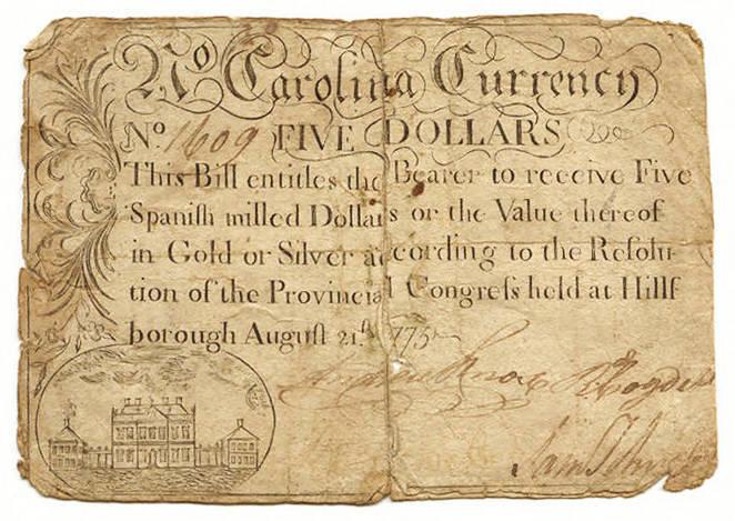 Five dollar North Carolina paper money, 1775