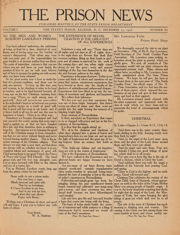 front cover of The Prison News by N.C. State Prison Department, inmates, Raleigh, N.C.