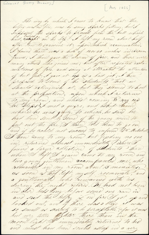 August 1856. Lemuel Benbury's account.