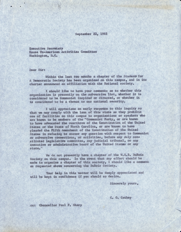 Letter from Dean of Student Affairs C.O. Cathey to FBI Director J. Edgar Hoover