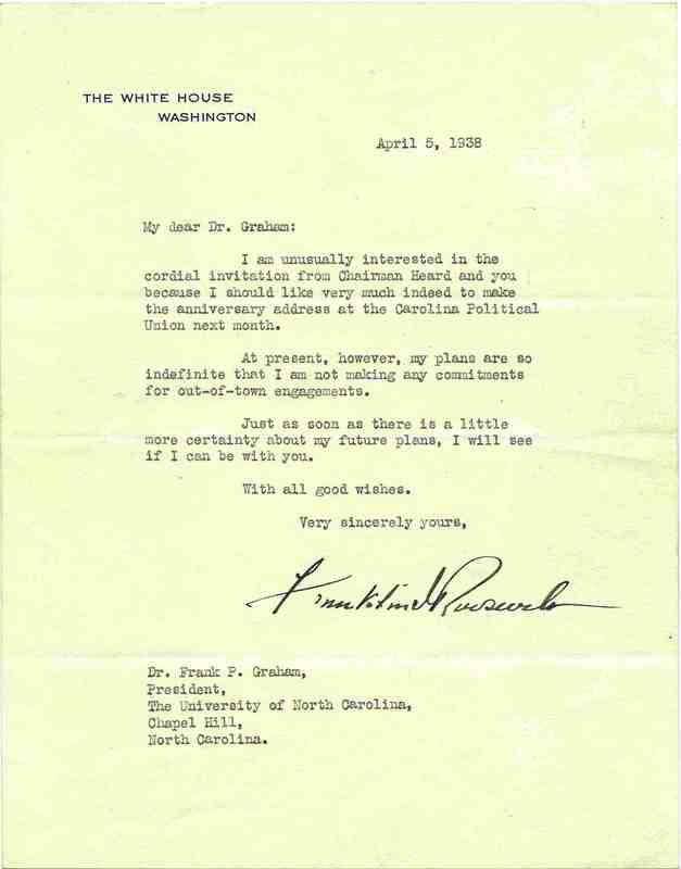 Letter, Franklin D. Roosevelt to Frank Porter Graham