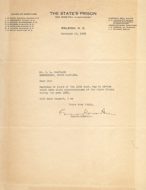 Letter from Superintendent of North Carolina Prisons Ross Pou to H. L. Canfield, the president of the North Carolina Society for the Abolition of Capital Punishment.