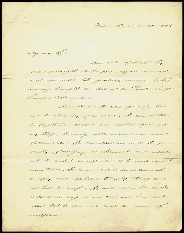 Letter, President David L. Swain to Trustee Charles Manly, Chapel Hill, 7 October 1856
