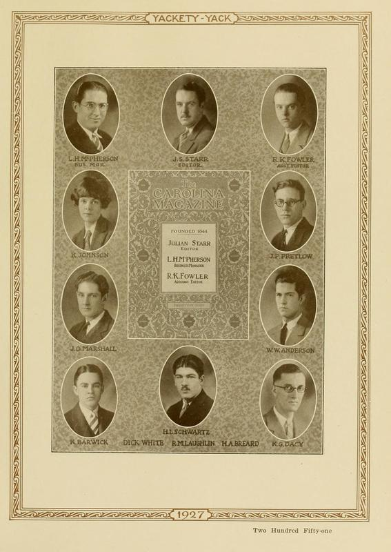 Photograph of Carolina Magazine staff, 1927