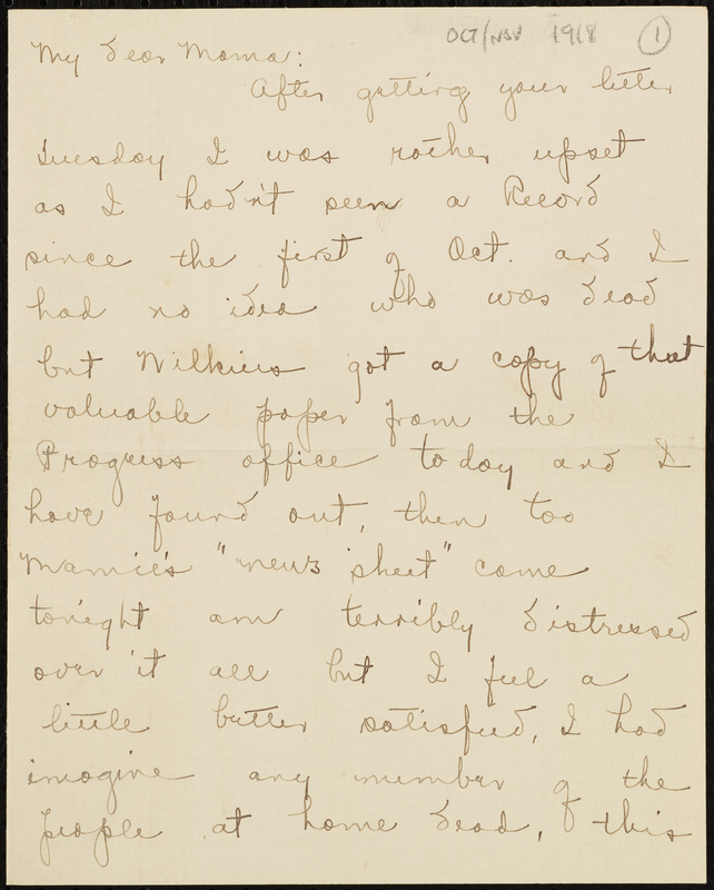 Letter from Jane Crichton Williams Lewis to Lucy Tunstall Alston Willams, October/November 1918