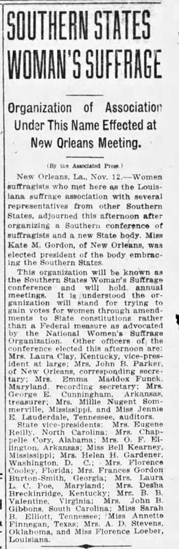 """""""Southern States Woman's Suffrage,"""" The News and Observer (Raleigh), November 13, 1913"""