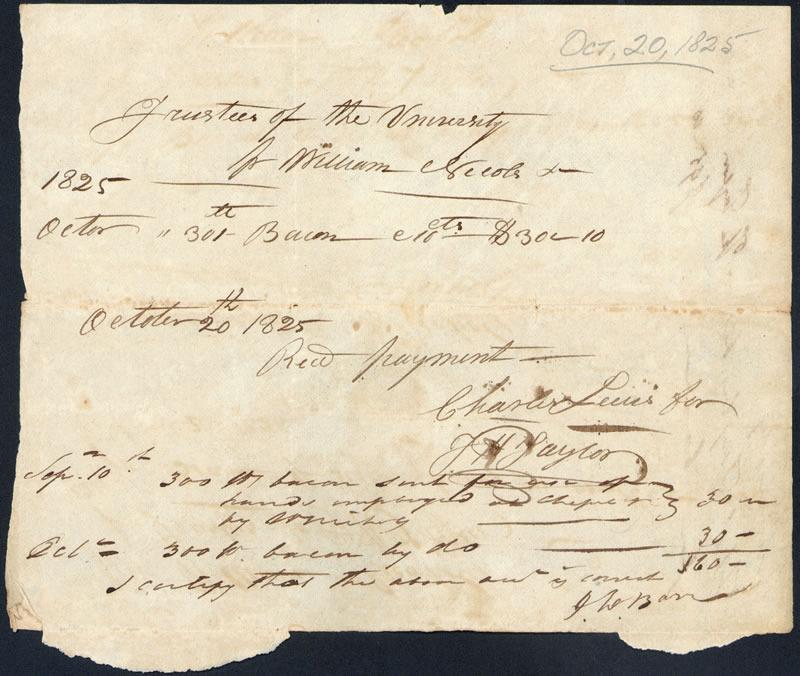 20 October 1825. Bill for bacon.