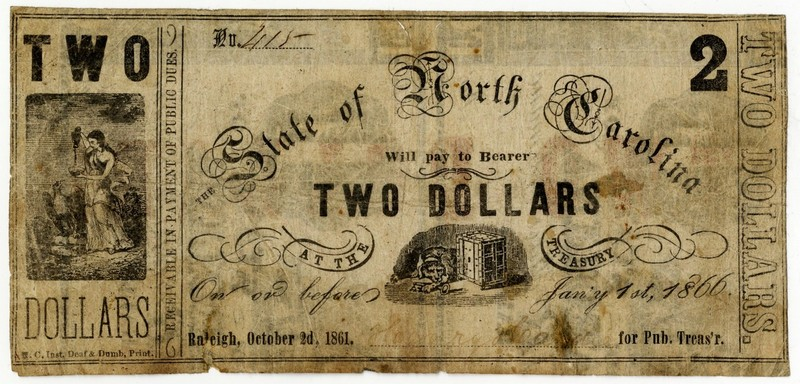 North Carolina Civil War treasury note $2 printed by the N.C. Inst. for Deaf & Dumb