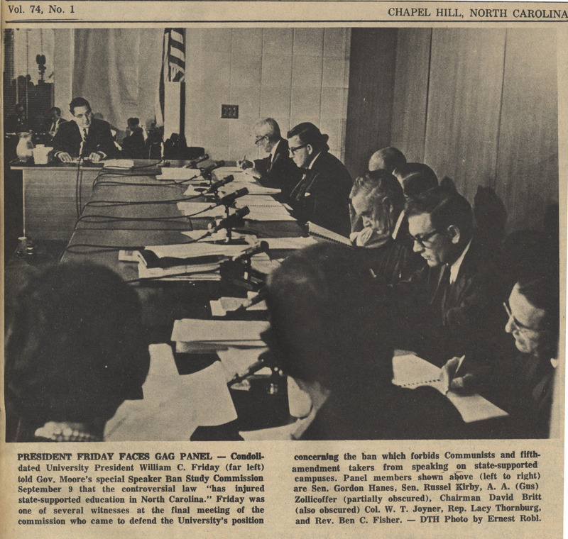 "Newspaper, ""President Friday Faces Gag Panel,"" <em>The Daily Tar Heel</em>, 16 September 1965, Chapel Hill, N.C."
