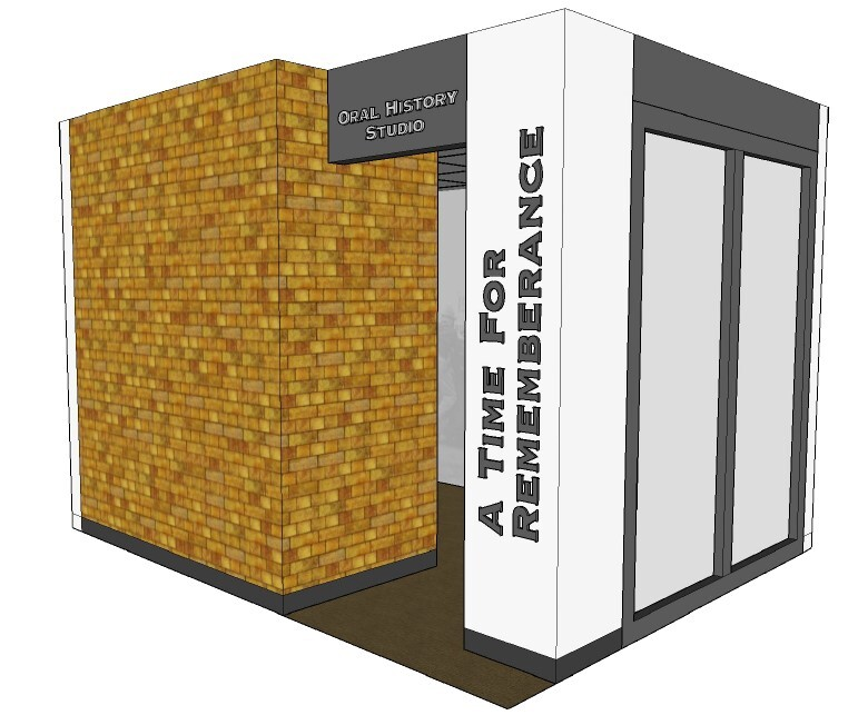 Plan for oral history recording booth at the Tuskegee History Center