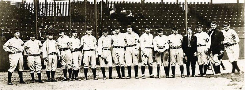 Baltimore Orioles baseball team, 1914.  Babe Ruth, far right.