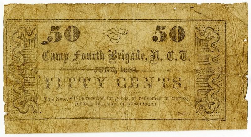 W. Shelburn, sutler, Camp Fourth Brigade, North Carolina Troops, 50 cents paper money, 1863