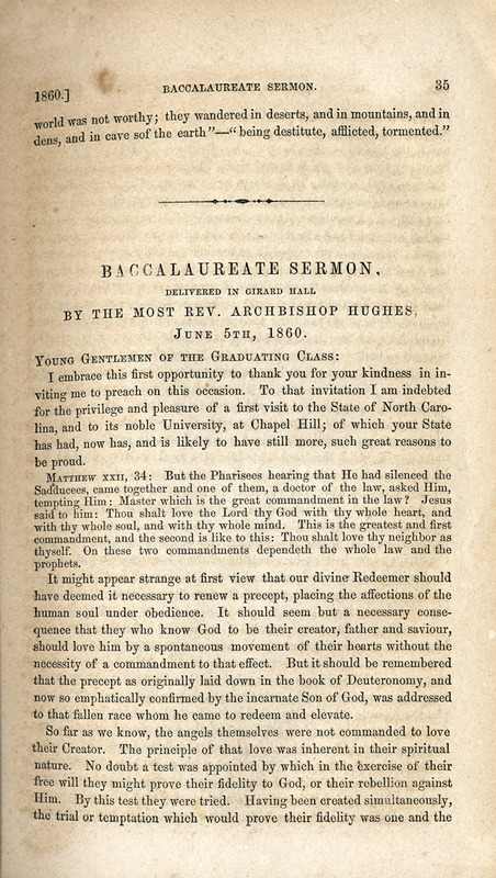 Baccalaureate sermon delivered by Archbishop Hughes and published in North Carolina University Magazine, August 1860.
