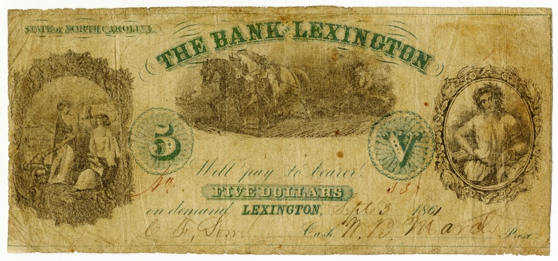 Bank of Lexington $5 note issued during Civil War