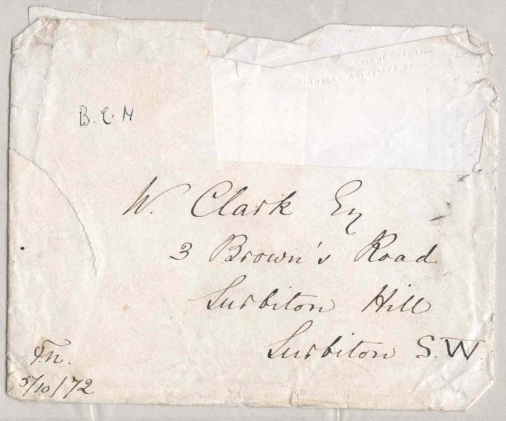 Envelope of letter to William Clark: 5 October 1872, front