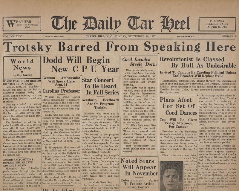 "Newspaper, ""Trotsky Barred From Speaking Here,"" The Daily Tar Heel, 19 September 1937, Chapel Hill, N.C."