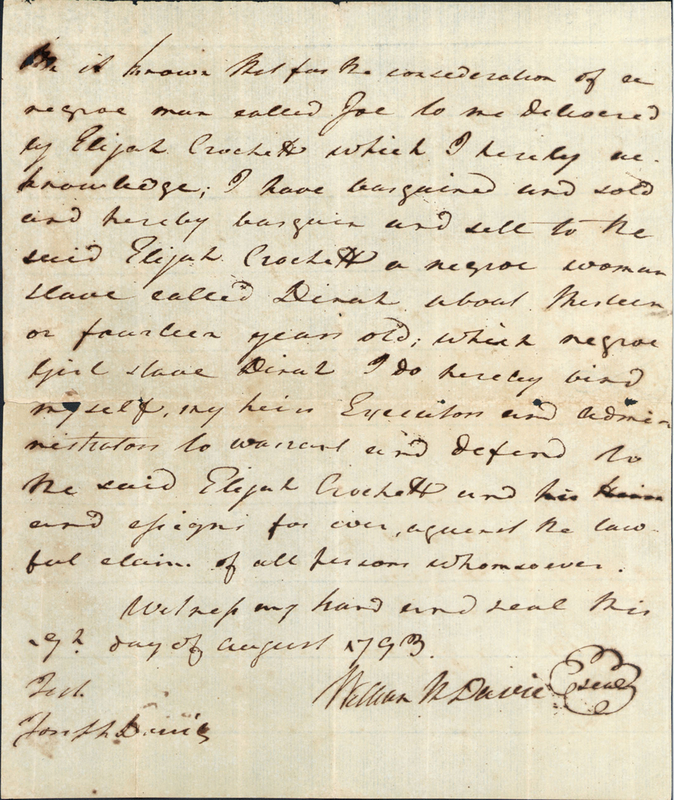 9 August 1793. William R. Davie to Elijah Crockett.