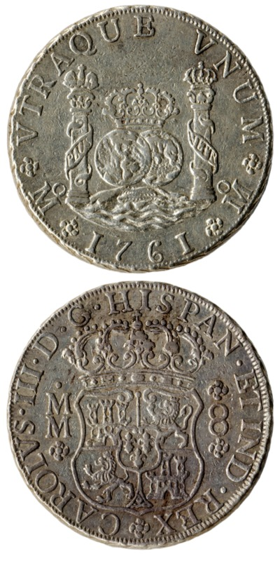8 reales coin, Mexico, 1761, joined 600px CK.1225.2