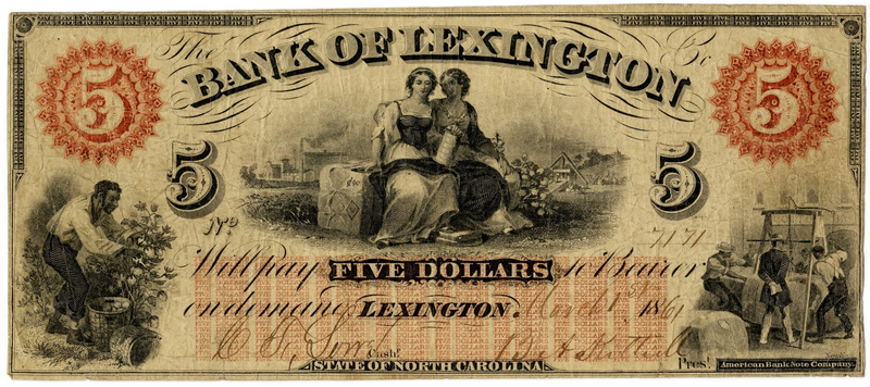 Bank note, Bank of Lexington, North Carolina, $5, 1861