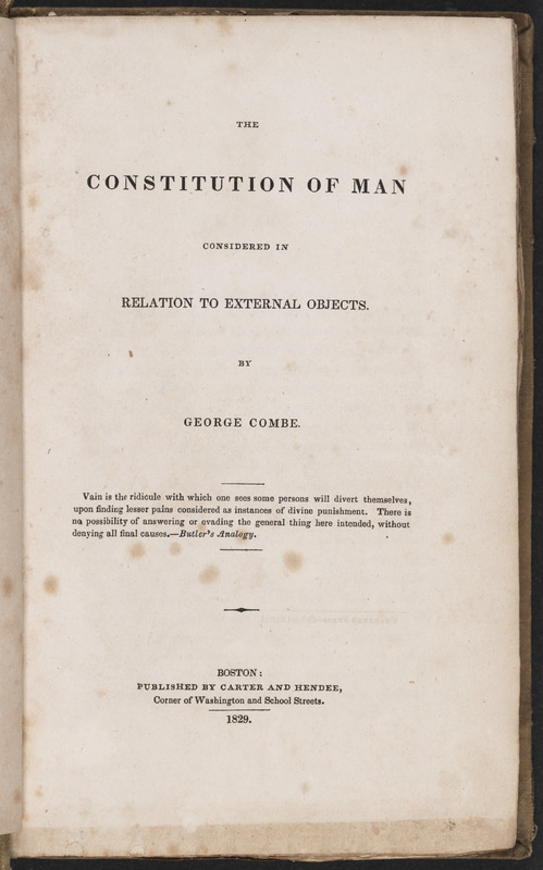 Title page of The Constitution of Man Considered in Relation to External Objects by George Combe