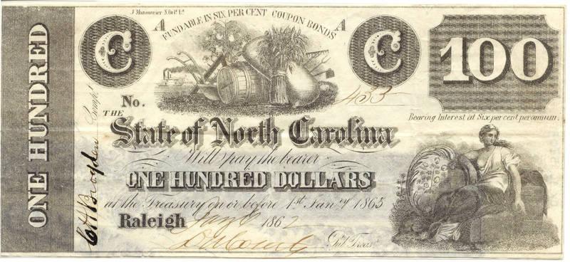 N.C. Civil War treasury note, $100, 1862