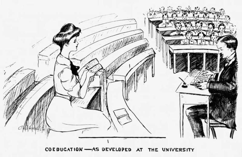 "Drawing, ""Coeducation - As Developed at the University"""