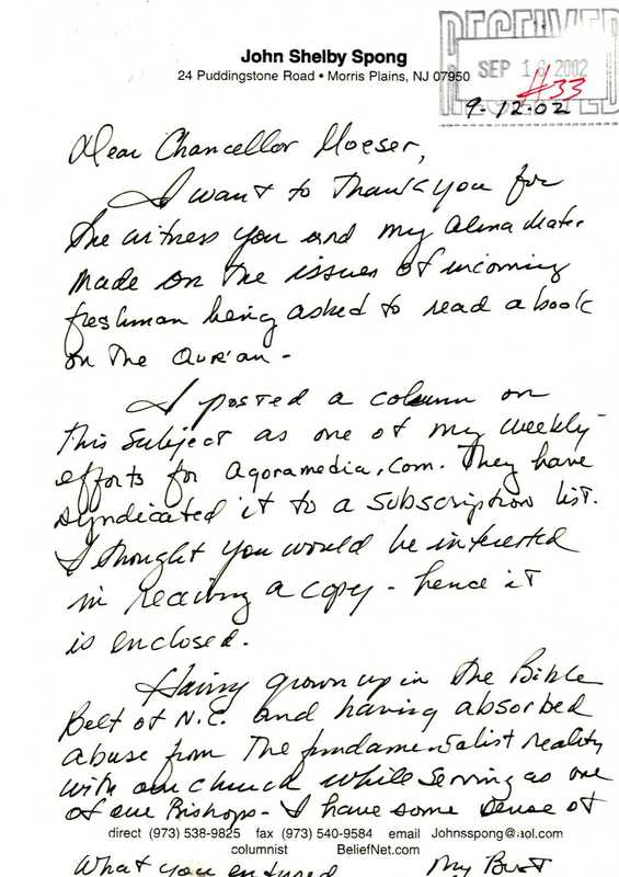 Letter, John Shelby Spong to James Moeser, September 16, 2002.