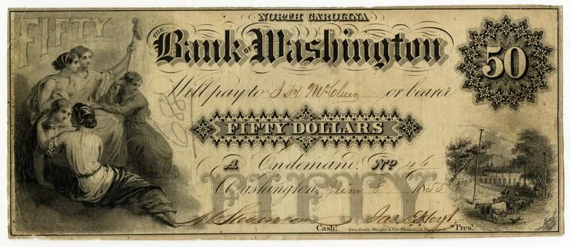 Bank of Washington $50, 1855
