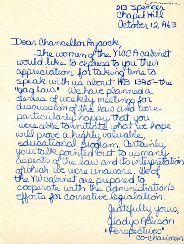 Letter, Gladys Allison to William B. Aycock, 12 October 1963, Chapel Hill, N.C.