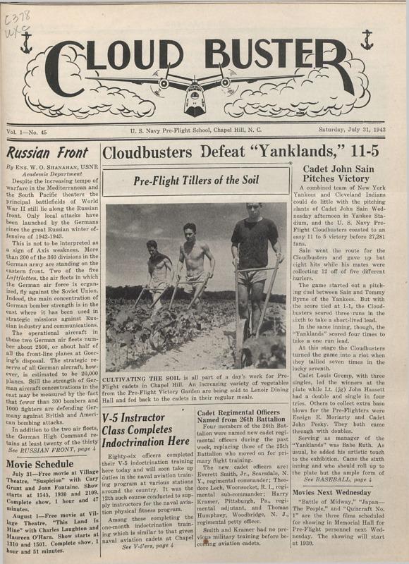 Cloud Buster, newspaper of the UNC Pre-flight WW II training, July 31, 1943. PDF