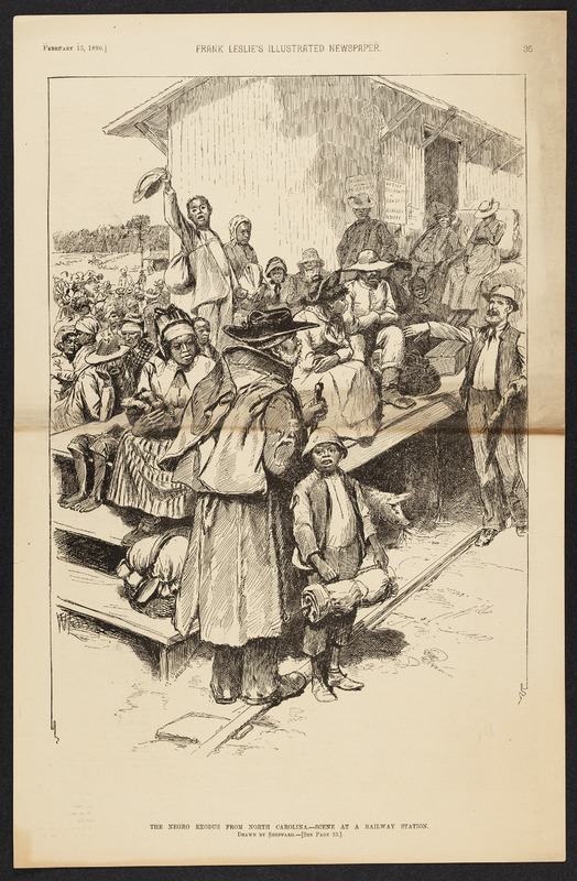 """""""The Negro Exodus from North Carolina - Scene at Railway Station"""" in Frank Leslie's Illustrated Newspaper"""