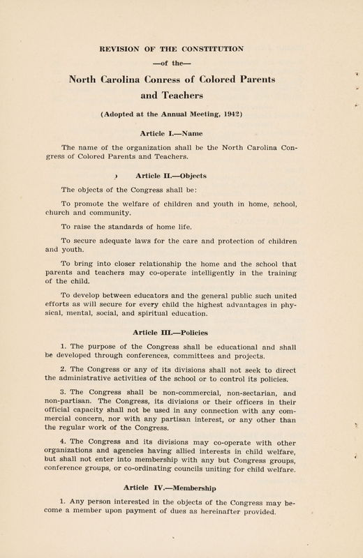 Revision of the Constitution N. C. Congress of Colored Parents and Teachers