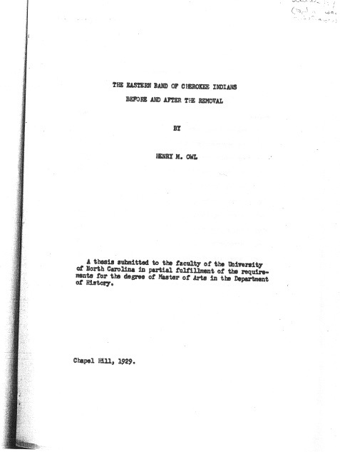 """Page from Henry Owl's master's thesis, """"The Eastern Band of Cherokee Indians: Before and After the Removal,"""" 1929"""