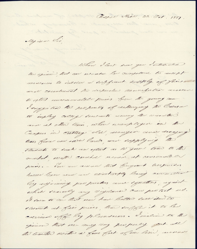 22 October 1851. David L. Swain to Charles Manly.