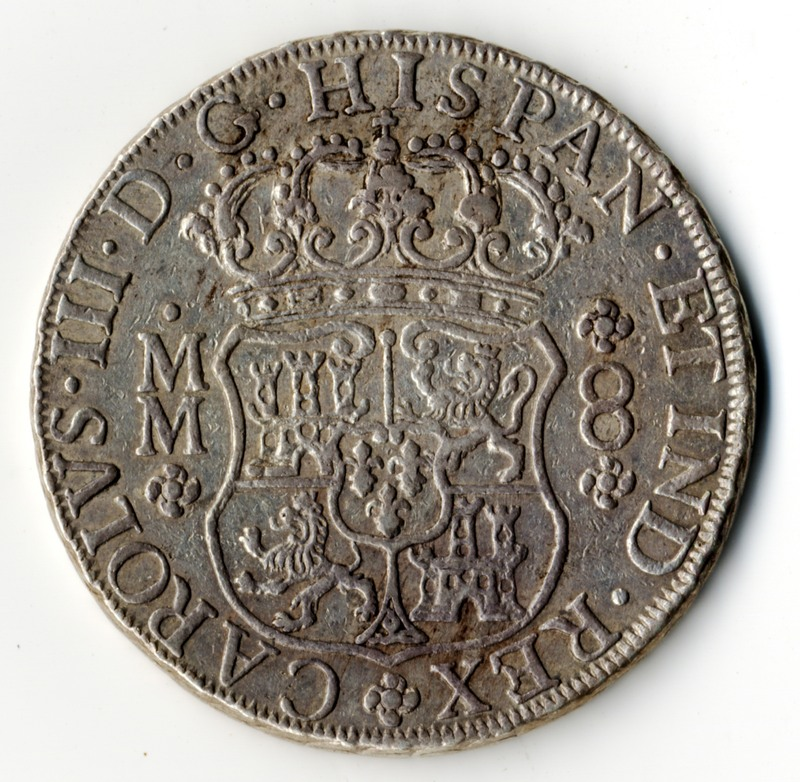 Mexican 8 reales coin 1761 (back)