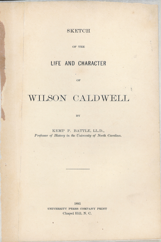 Sketch of the Life and Character of Wilson Caldwell.