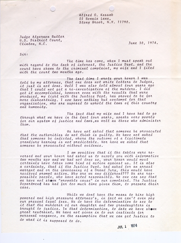 Excerpts from a letter from Alfred Kassab to U.S. District Court Judge Algernon Butler.