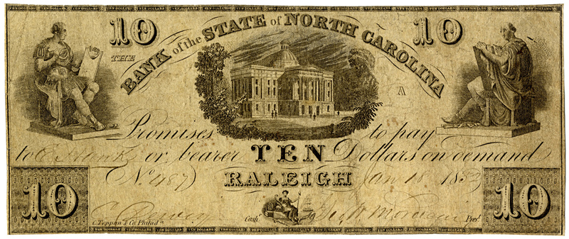 Bank of the State NC $10 bill, 1852, counterfeit