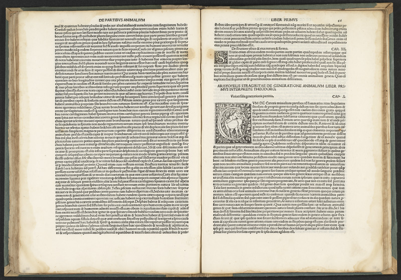 Image of open book containing opening passages of Aristotles's De animalibus